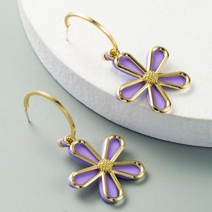 2/$20! Gold 1/2 Hoop Purple Flower Earrings